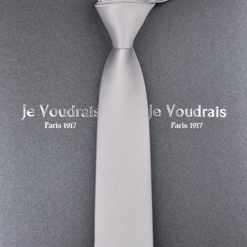 【法国JV】男士高档领带英伦潮流正装休闲结婚窄韩版6cm纯黑灰色
