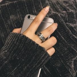 泰国百搭中性风转动旋转链条纹理男女情侣戒指戒指指环尾戒不褪色图片