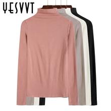 半高领中领秋季体恤纯色打底衣棉质紧身上衣黑色t恤 女长袖 打底衫