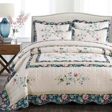 欧式绗缝床盖单件纯棉夏被空调被全棉水洗夹棉床单衍缝田园三件套