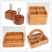 颐雅轩 越南进口藤编分格收纳篮 筷子汤勺整理篮 厨房用品收纳篮