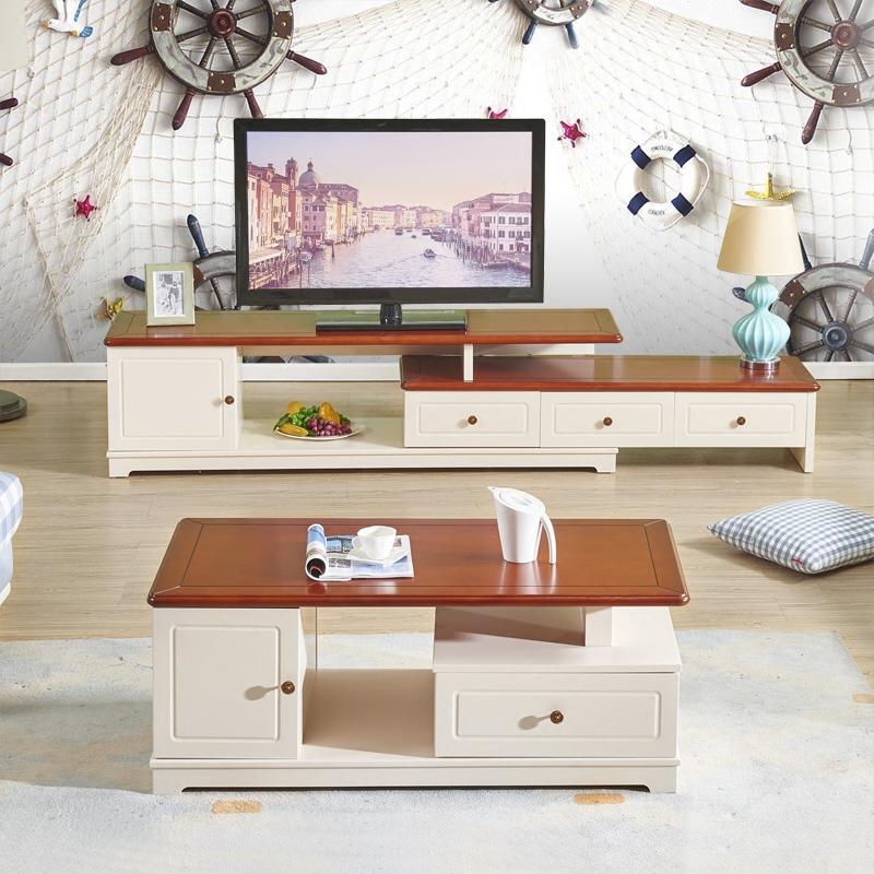 掌上明珠家居 新地中海风格茶几电视柜2件套北欧简约客厅家具组合