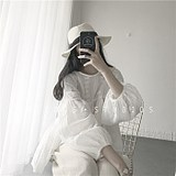 Self-made ins spring and summer new Korean version of Baitao loose embroidery lace hollow doll fairy white lace blouse