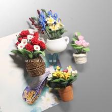 手工制作七夕玫瑰花粘土冰箱贴 陶瓷罐子强力磁铁磁贴创意装饰品