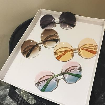 欧美切边新款无框太阳镜超大框个性网红明星款多边形墨镜女眼镜
