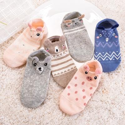5双包邮 女袜子夏季学生短袜浅口低帮纯棉卡通袜可爱动物耳朵袜子