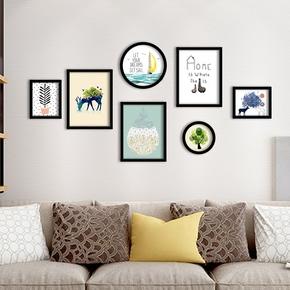 欧式实木装饰画简约风格客厅组合挂画餐厅玄关卧室背景小清新壁画