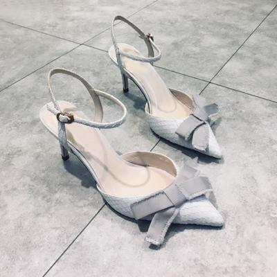 欧洲站2018春夏新款女鞋中跟尖头单鞋蝴蝶结细跟高跟鞋蛇纹凉鞋女