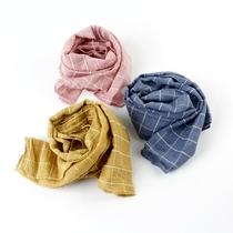 春秋天儿童棉麻围巾时尚宝宝格子围巾四季款男女童保暖长围巾
