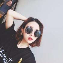 新款潮流墨镜复古箭头大框遮脸反光太阳镜韩网红时尚街拍眼镜2018