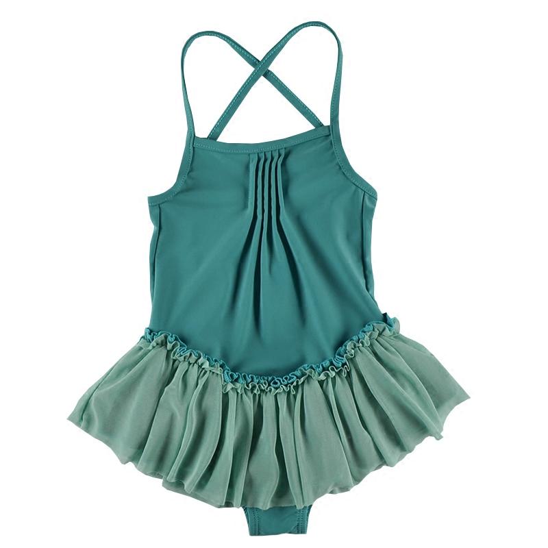 泳衣女大童夏季时尚洋气公主连体式儿童泳装深绿色个性女孩游泳衣