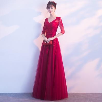 新娘敬酒服2018新款春夏季v领蕾丝中袖长款显瘦红色结婚晚礼服女