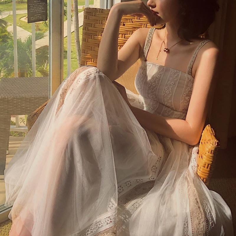 連衣裙裙擺中長款拼接裙擺