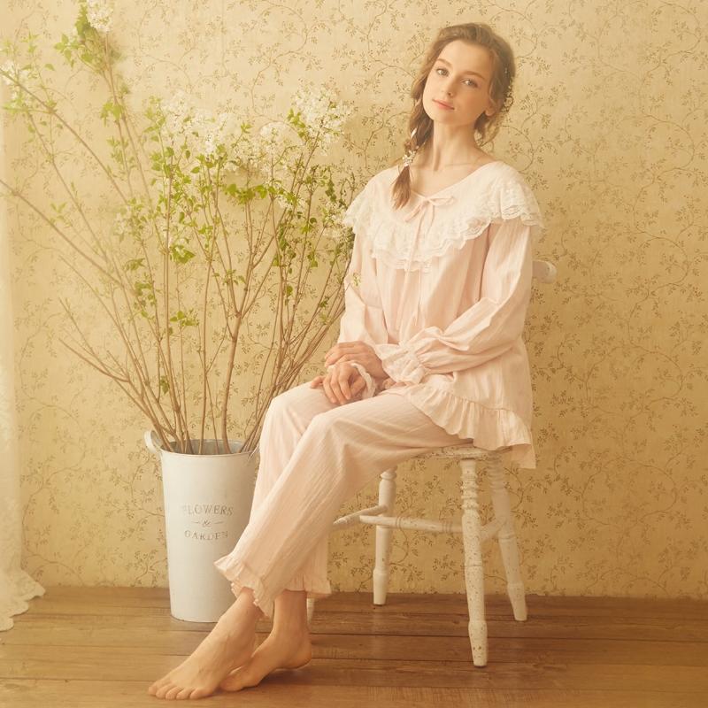 RoseTree宫廷睡衣女秋季长袖复古蕾丝公主纯棉秋冬家居服睡衣套装