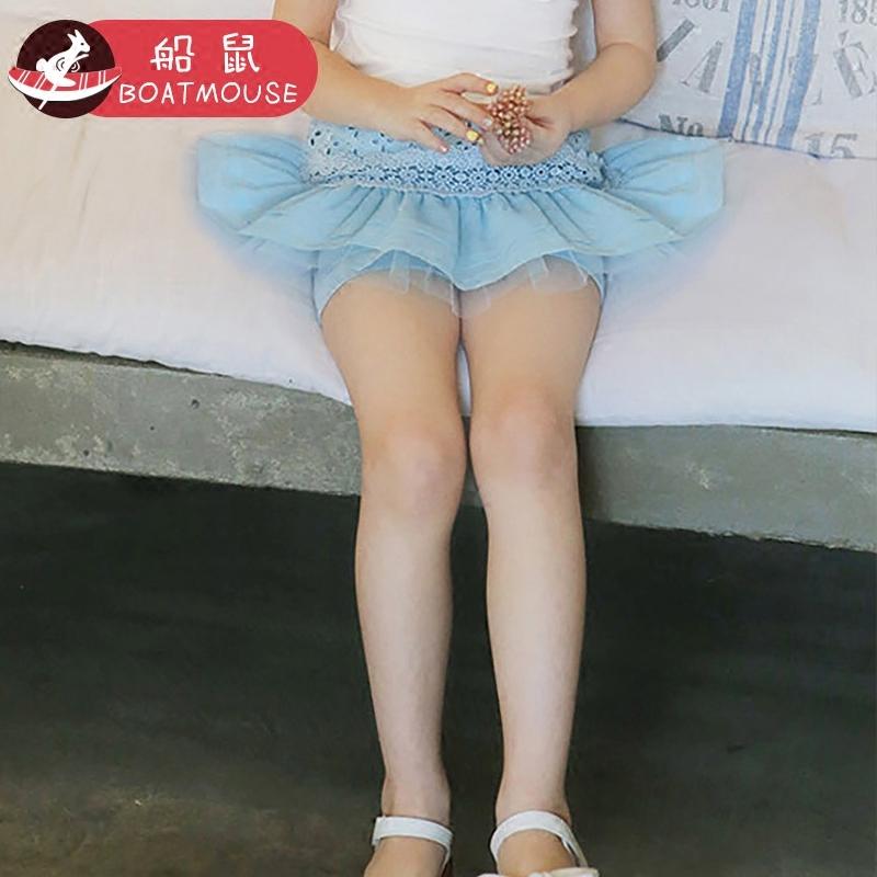 船鼠女童裙裤假两件短裤夏季薄款2018新款女孩宝宝沙滩裤儿童裤裙