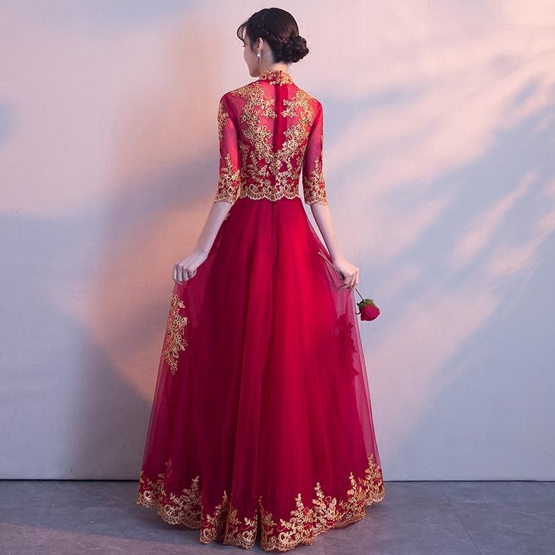 敬酒服新娘2019新款春款红色婚礼显瘦结婚晚礼服女中式答谢宴长款