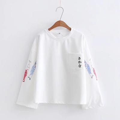 日系秋装简约T恤女长袖初中学生宽松显瘦鲤鱼旗卫衣打底少女上衣t