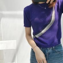 上衣 银丝曲线高雅短款 莫名很喜欢 针织短袖 西班牙牌 卖完无