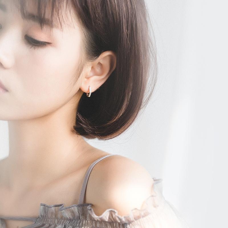 爱洛奇 s925银耳扣女日系韩版风简约镶钻六边形短款耳扣几何耳圈