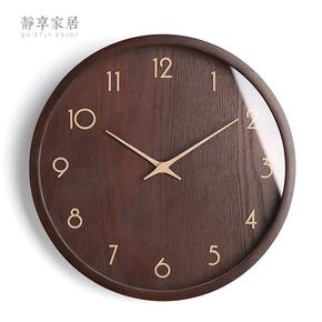 现代简约挂钟客厅实木钟表北欧原木质时钟卧室挂表石英钟中式静音