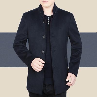 冬季男士羊毛夹克男秋冬款上衣中年男装毛呢外套宽松爸爸商务休闲