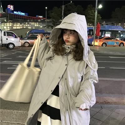乌77 韩国简约立领连帽宽松纯色排扣百搭中长款面包棉服外套女冬
