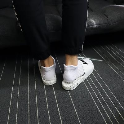 佐印男士纯棉耳朵束腰船短袜潮流个性运动毛巾底弹力透气黑白袜子