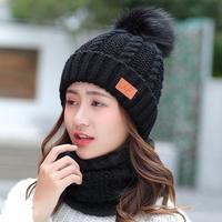 帽子女冬天围脖两件套帽加绒加厚青年学生针织保暖护耳帽脖套帽子