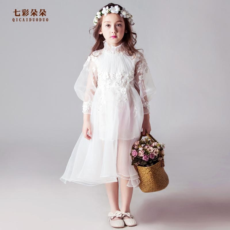 儿童长袖婚纱裙白色