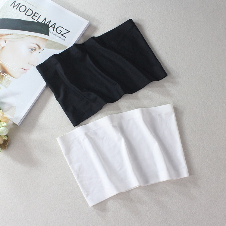 white ice silk a type without trace bottom wrapped chest thin section anti-light take-up Bra top short paragraph