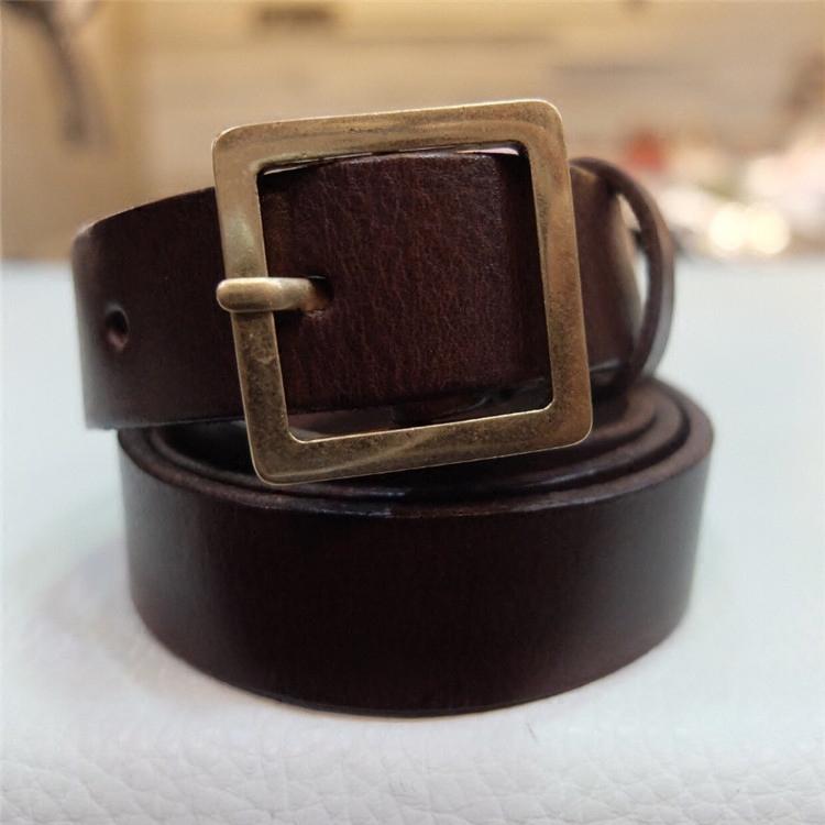 韩国东大门代购男士窄款时尚做旧铜色金属卡扣真皮腰带潮搭皮带