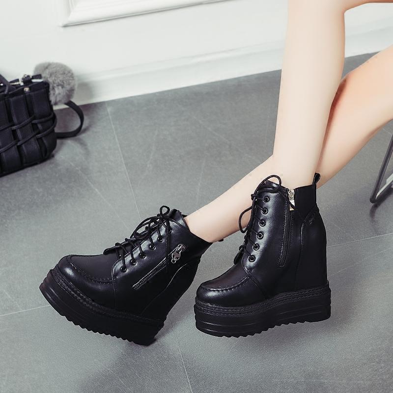 内增高短靴松糕底坡跟短靴马丁靴