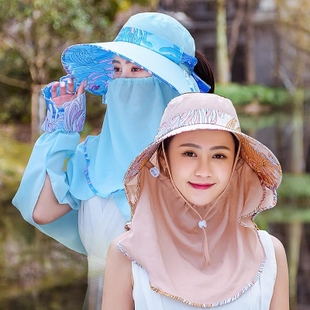 帽子女夏天可折叠遮阳户外护颈遮脸护脖骑车防晒大沿采茶帽太阳帽