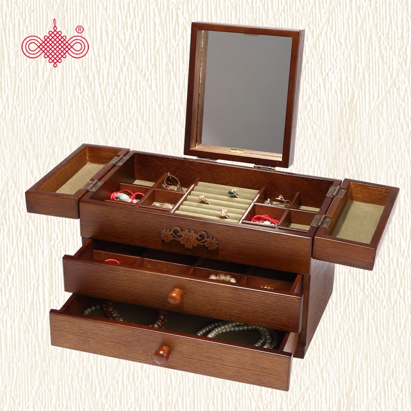 首饰盒公主欧式韩国带镜子多层耳环盒子简约手饰品收纳盒大容量木