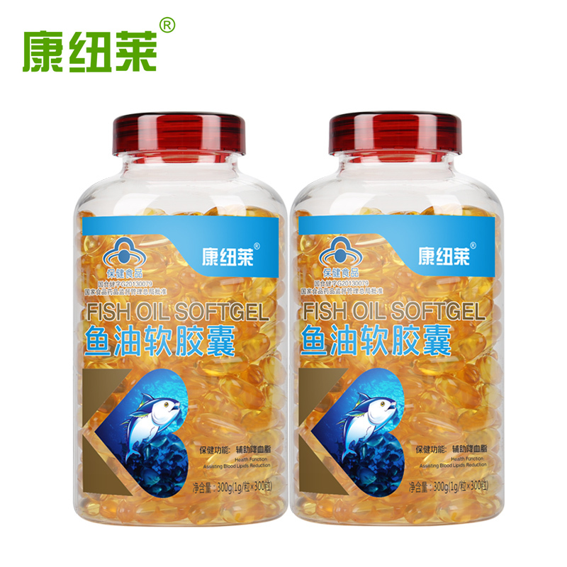 鱼油软胶囊600粒+送钙片 成人中老年血压高降血脂可搭深海鱼肝油