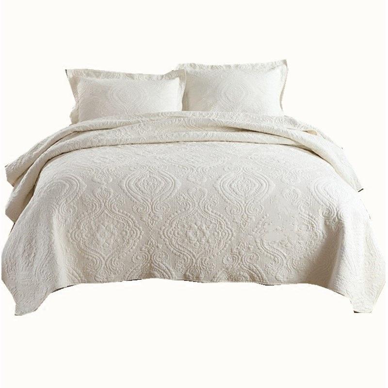 出口欧式全棉绗缝被三件套水洗床盖单件夏被空调被纯棉绣花床单垫