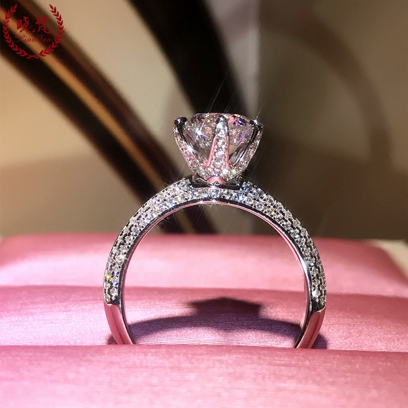 晓梵家钻戒仿真钻石戒指满钻六.