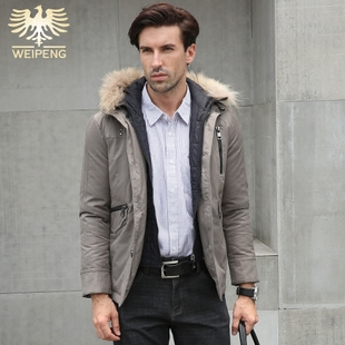 威鹏男装新品秋冬季厚款男士羽绒服连帽修身型灰色夹克保暖棉外套