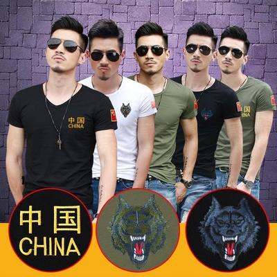 军强夏季军装刺绣中国旗男士短袖t恤军迷半袖修身特种兵大码纯棉