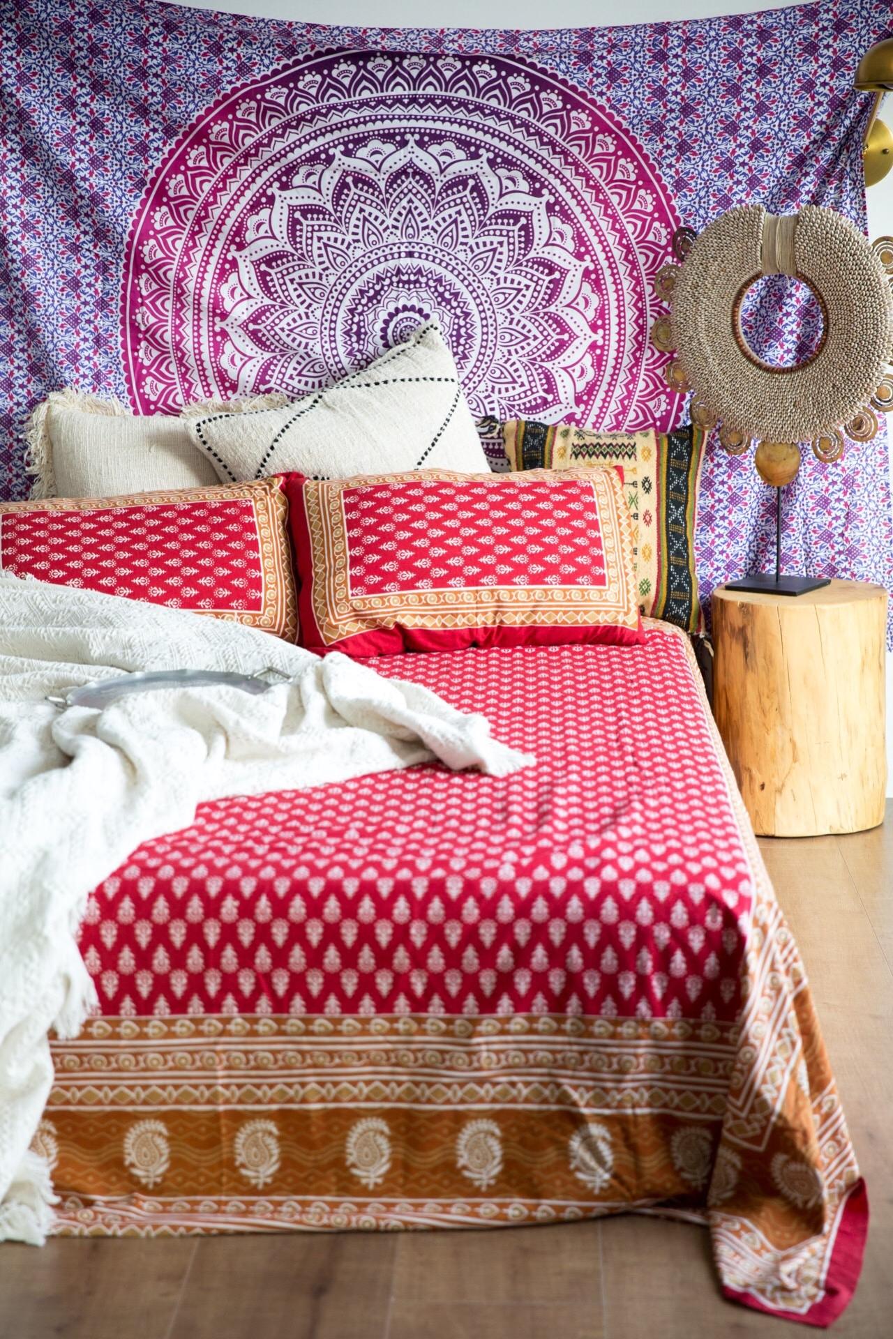 India Block Print Duvet Cover印度手工雕版植物印花床品三件套
