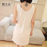 Ying mei jia new knitted silk pajama gown lady mulberry silk v-neck base vest slip silk home wear