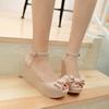 坡跟蝴蝶结女士凉鞋