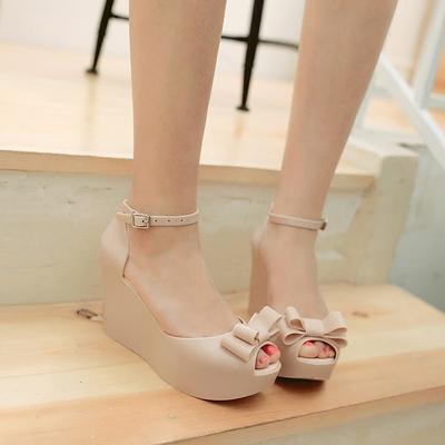 坡跟蝴蝶结松糕鞋