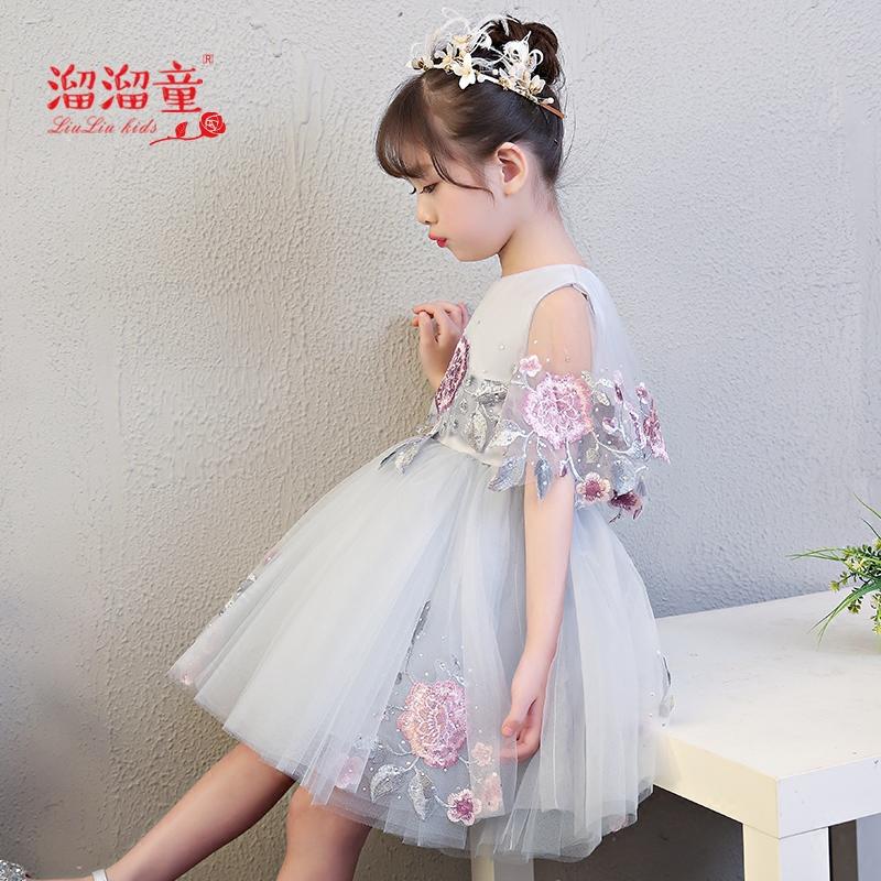 儿童礼服公主裙走秀短款蓬蓬裙新款小花童婚纱女童生日演出服夏季