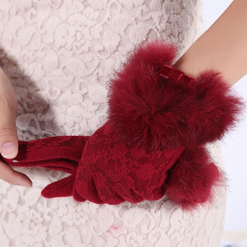 南极人新品秋冬羊毛手套兔毛口韩版蕾丝花纹触屏分指手套女士冬天