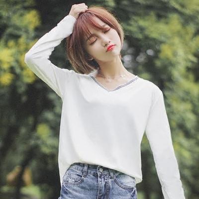 帛卡琪新款螺纹V领长袖白T恤女秋冬百搭纯色打底衫纯棉上衣学生潮