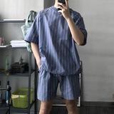 雀斑男装 韩版休闲条纹 休闲运动抽绳套装