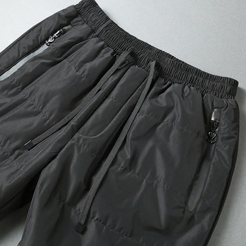 冬季巨保暖夹棉裤舒适防水 男士加厚修身保暖棉裤外穿 直筒休闲裤