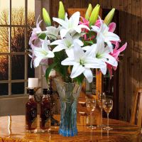 Fake flower lily simulation bouquet single living room indoor table decoration decoration floral decoration vase flower arrangement