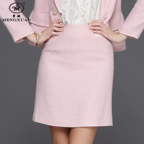 秋冬款女装短裙子一步裙通勤包臀裙职业套装包裙羊毛呢显瘦半身裙